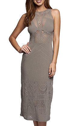 Jets Intrigue Taupe High Neck Dress