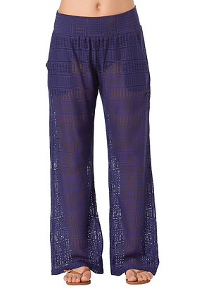 Anne Cole Navy Lace Crochet Cover-Up Pant