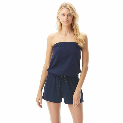 Michael By Michael Kors Solid Logo New Navy Strapless Romper