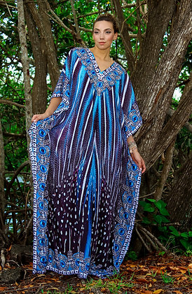 La Moda Blue Feather Maxi Kaftan