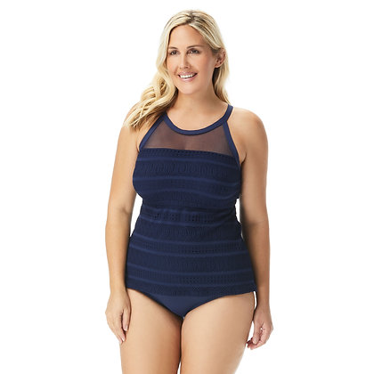 Beach House Plus Size Lace Up and Go Exhilarate Racerback Tankini