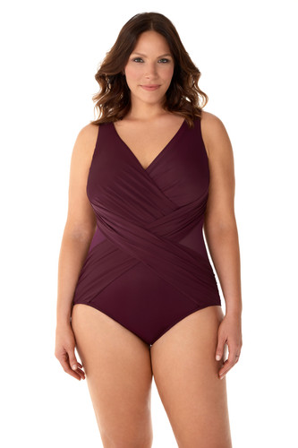 f76cccff4d2 Miraclesuit Plus Size The Illusionists Solid Crossover One Piece