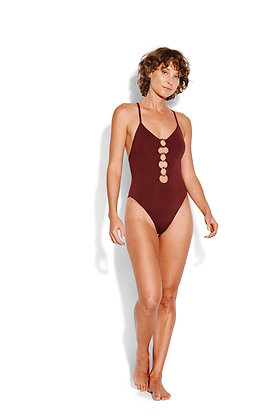 Seafolly Active Ring Plum Front One-Piece