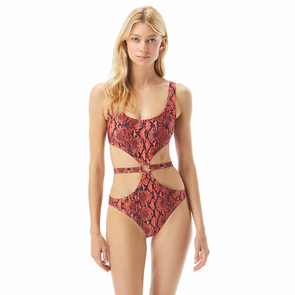 Michael By Michael Kors Snake Print Cut Out Belted One Piece