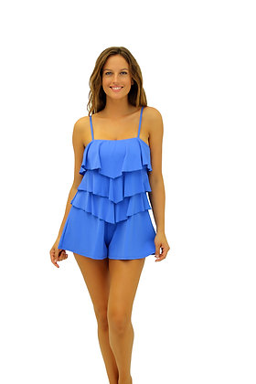 Fit 4 U Cobalt Bandeau V-Tiered Swim Romper