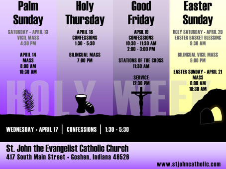 Observe Holy Week and Easter at St. John's