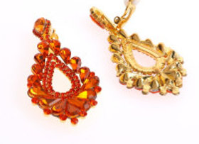 Orange Crystal Clip On Earrings