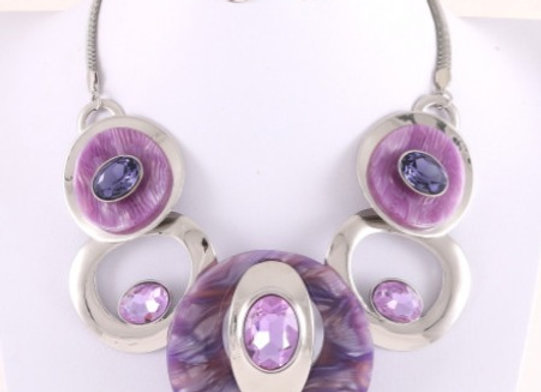 Purple & Silver Necklace Set