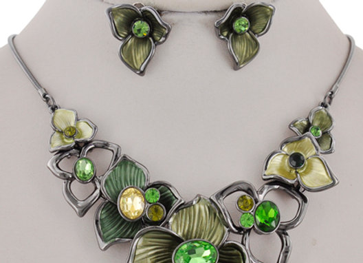Yellow/Green Flower Necklace Set