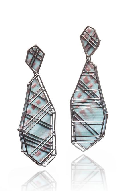 Earring, Silver, Enamel, 2.5_x0.75_x 0.7
