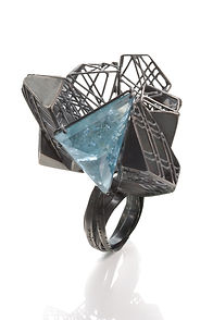 Ring-Oxidized silver, Aquamarine, 2x2.5x
