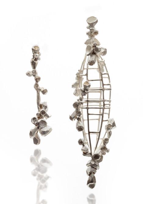 Earring, Silver, Diamonds, 1_x 3.5_x 0.7