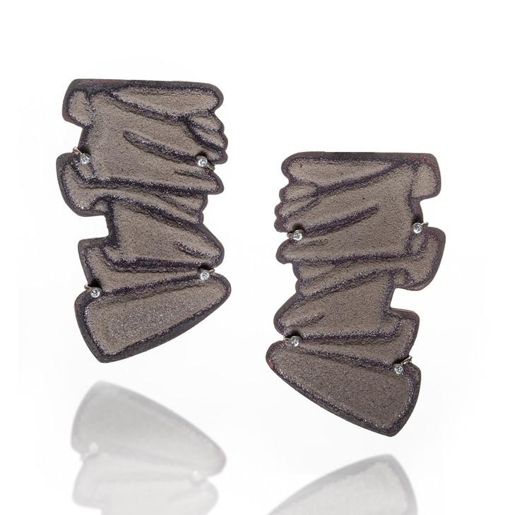 'Pleated II', Copper, Enamel, silver, 14