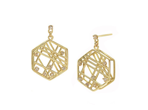 Hexagon Diamond Earrings