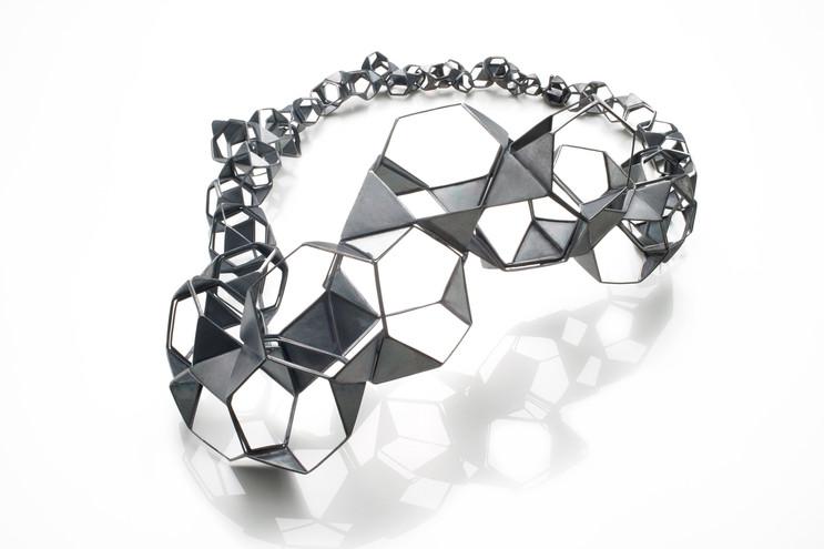 Necklace-Oxidized silver, Diamond, 8x11x
