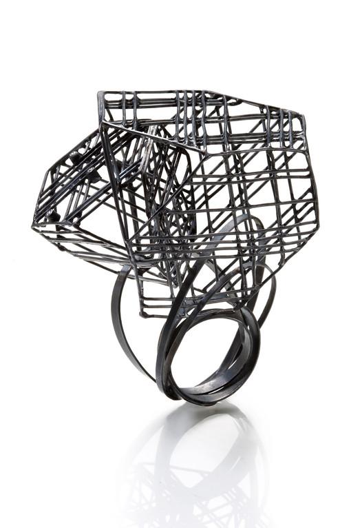 Ring-Oxidized silver, Diamonds, 2012.jpg