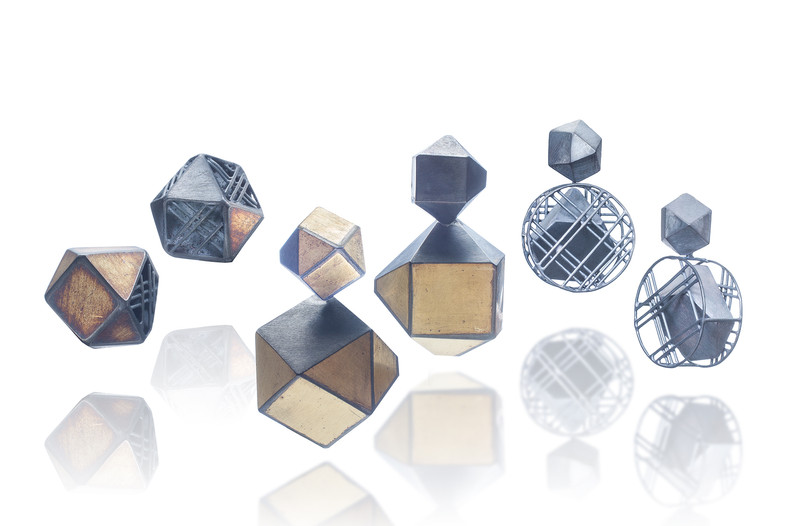 Earring, gold geometric, Jee Hye Kwon, 2