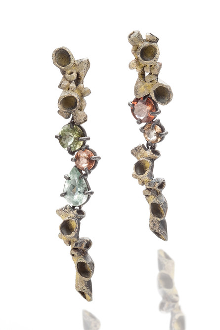 Earring, Silver, Enamel, Topaz, Aquamari