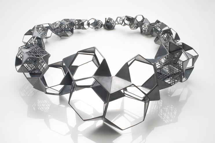 Necklace-Oxidized silver, Diamond, 8.75x