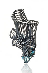 un_seen, brooch, oxidized silver, aquama