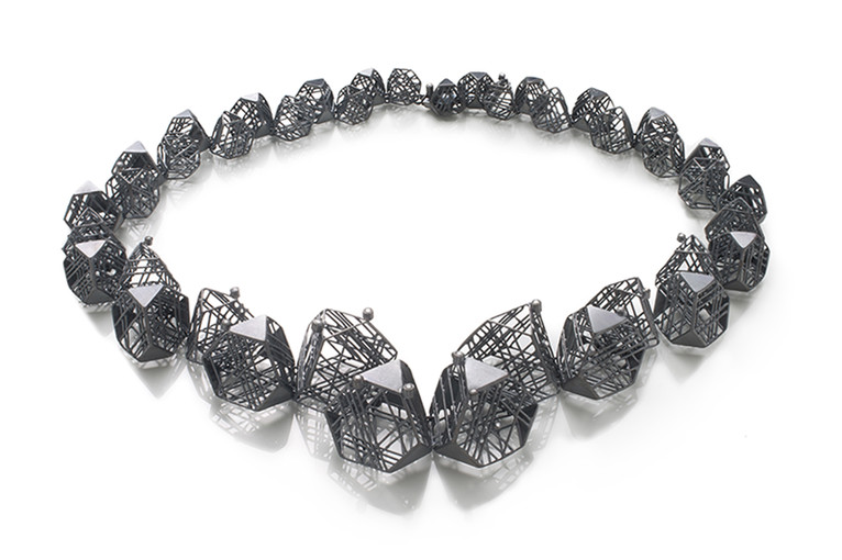 Necklace-Oxidized silver, Diamonds, 7.5x