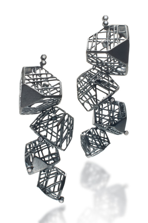 Earring-Oxidized silver, Diamonds, 18K g
