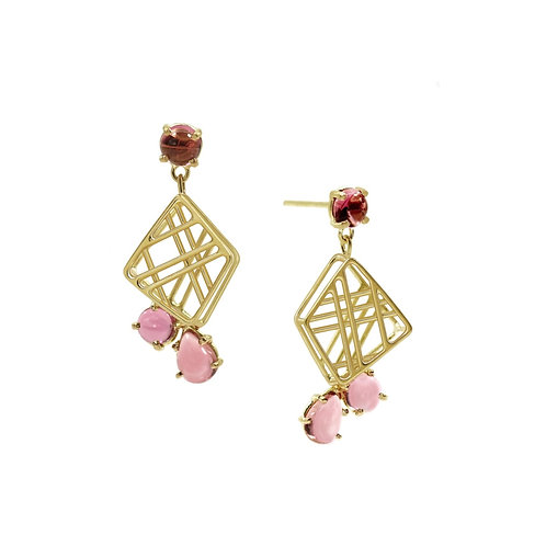 Fractal Earrings with Tourmaline Cluster