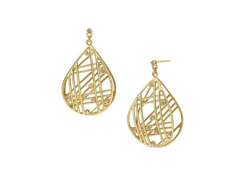Curved Pear Shaped Diamond Earrings