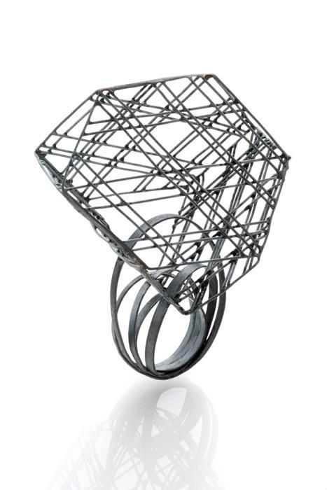 Ring, Oxidized silver, 2.25_x2_x3.25_, 2