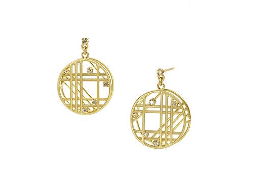 Circular Window Diamond Earrings