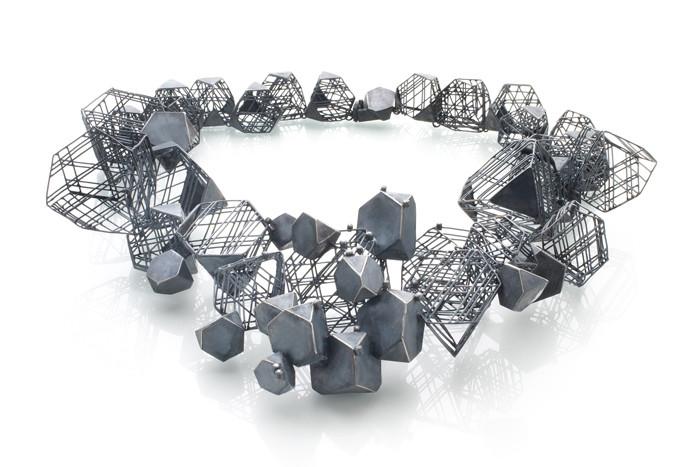 """Necklace, Oxidized silver, Diamonds, 10"""""""