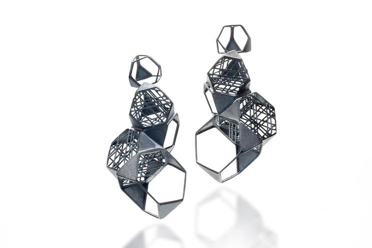 Earring-Oxidized silver, 18K gold, 3x1.5