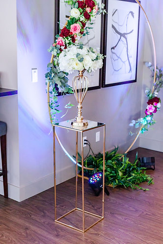Modern Rectangle Metal Stand / Gold Floral Riser