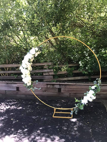 Small Moon Gate with Silk Floral Arrangements