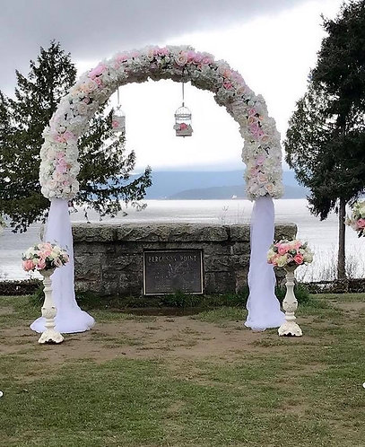 Blush Floral and Tulle Archway