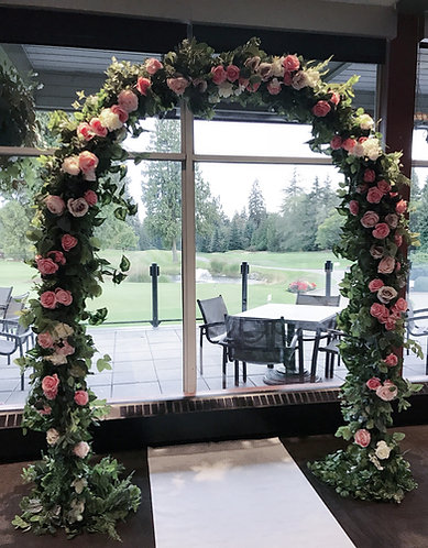 Peach &Pink Floral and Greenery Archway