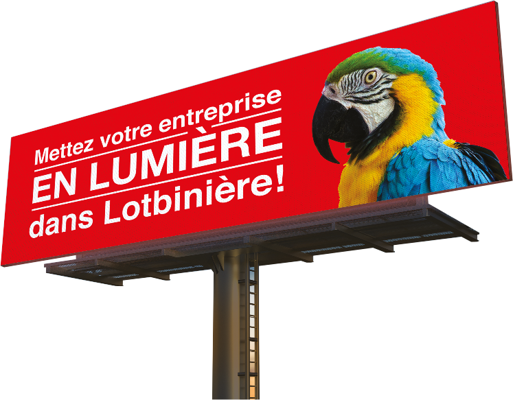 Panneau publicitaire sur le bord de l'autoroute affichant un perroquet plein de couleurs dans une annonce publicitaire