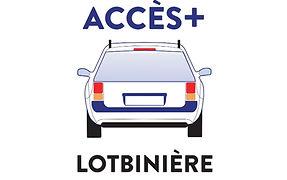 Voiture vue de derrière avec le logo de Accès + Lotbinière
