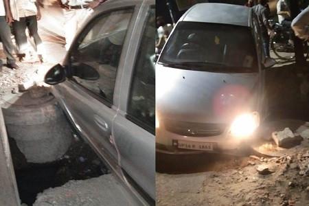 मढ़ई चौक के गड्ढे में जा घुसी गाड़ी का बम्पर टूटा ज़िम्मेदार कर रहे किसी बड़ी दुर्घटना का इन्तिज़ार