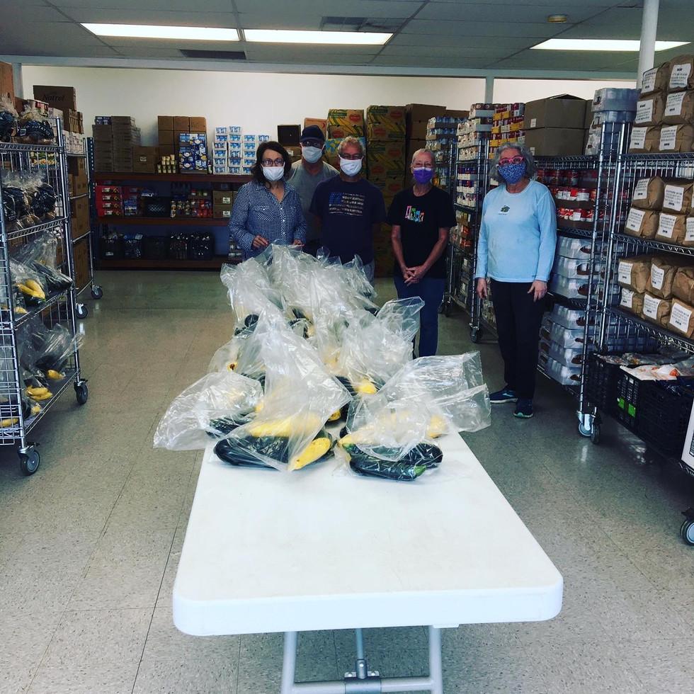 Happy food pantry volunteers