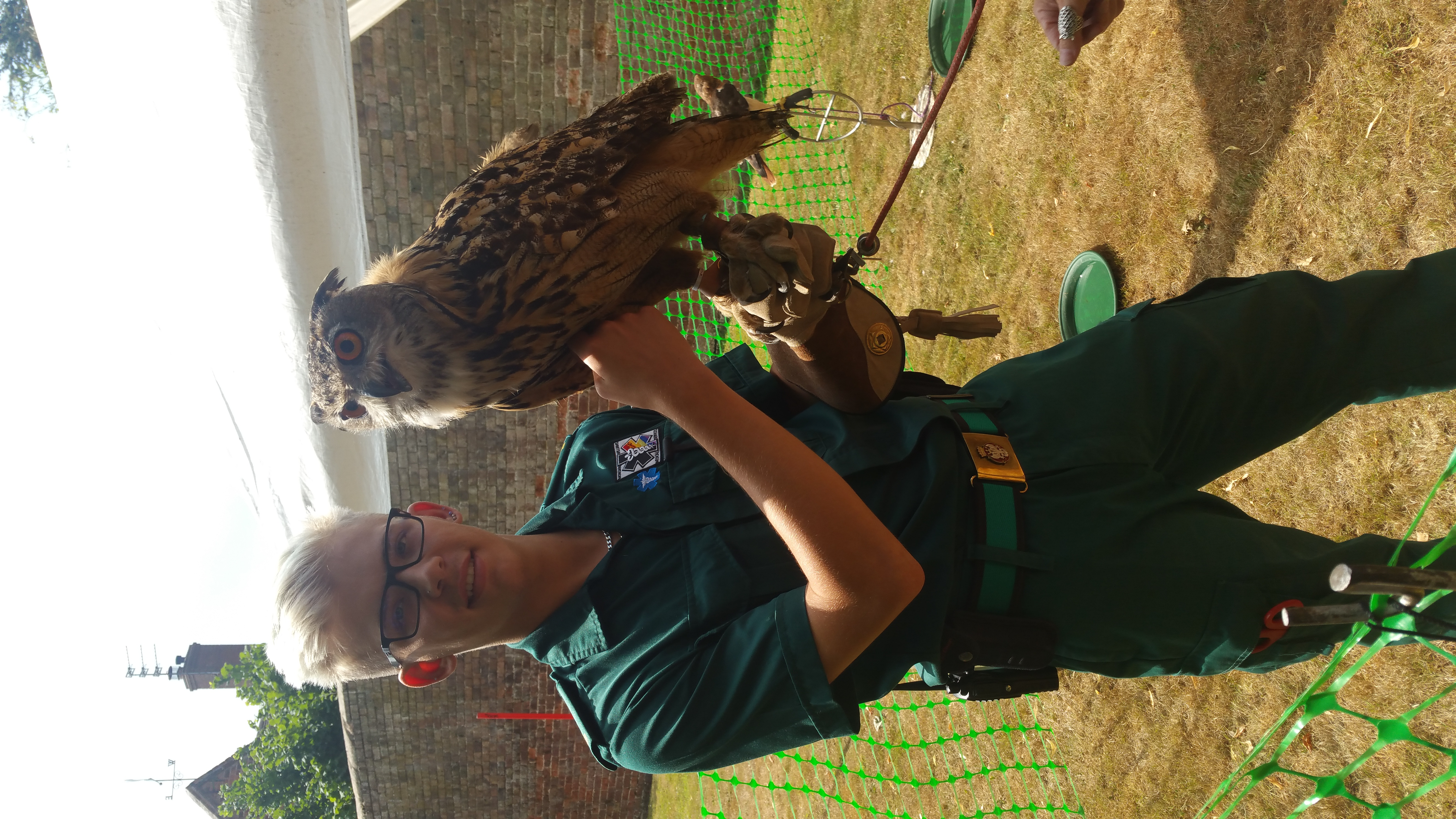 Kieron with an eagle owl at Albrighton Fayre