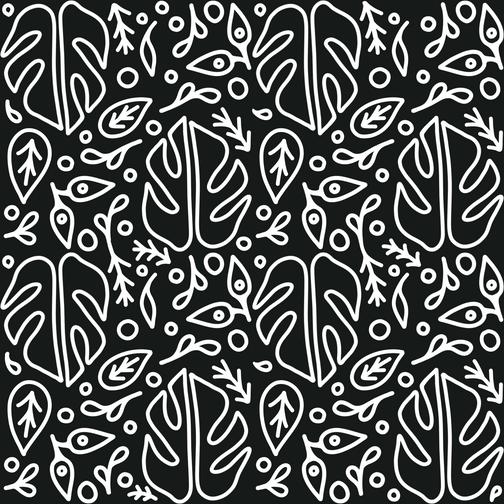 Monstera Pattern Line Art