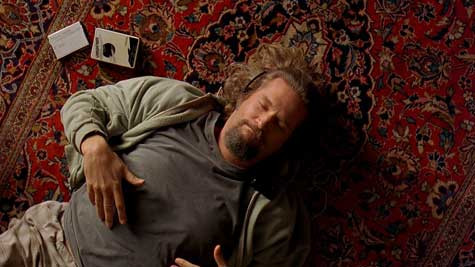 Big Lebowski sleeping on floor