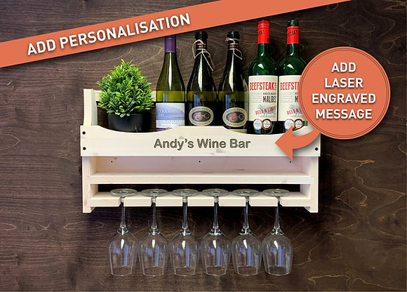 Personalised Wine Bottle and 6 Glass Wall Display