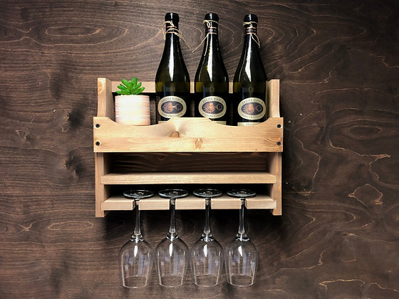 Wine Bottle and 4 Glass Wall Display