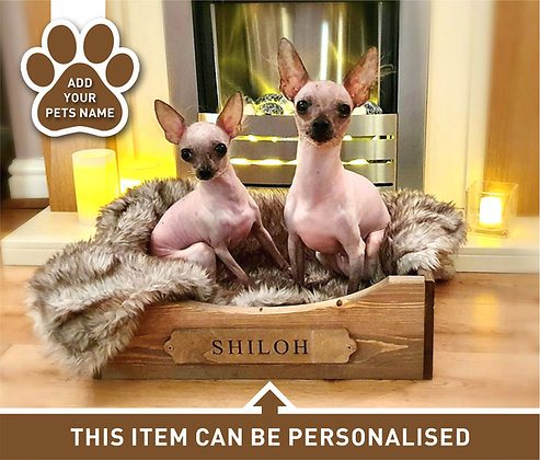 Personalised Wooden Dog Bed - Small