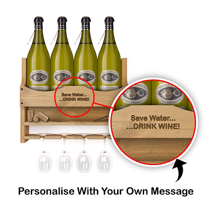 Personalised Wine Bottle and 4 Glass Wall Display