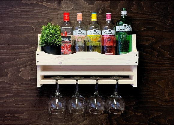Gin Bottle and 4 Balloon Glass Wall Display