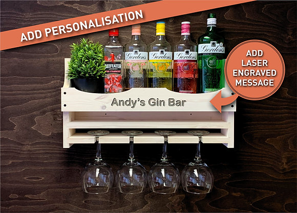 Personalised Gin Bottle and 4 Balloon Glass Wall Display