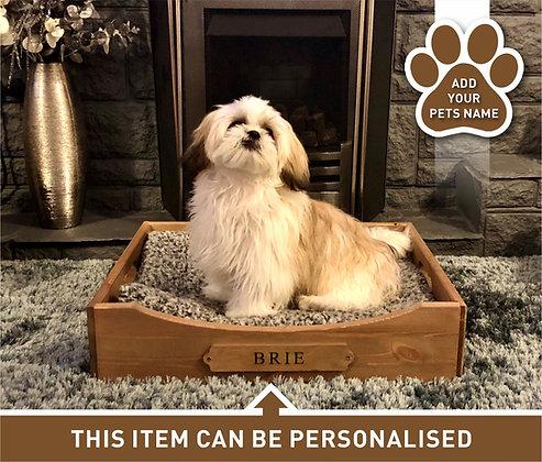 Personalised Wooden Dog Bed - Medium